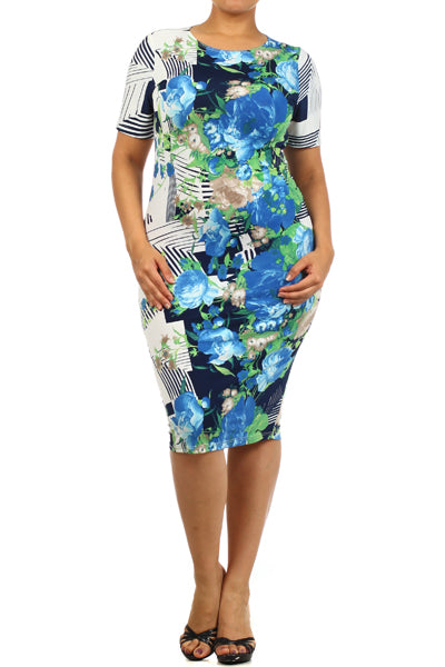 Womens Blue Moon Floral Tea Cocktail Dress 2X 3X