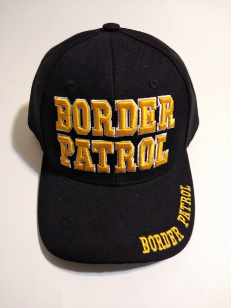U.S Border Patrol Black With Gold Letters Embroidered Cap Hat