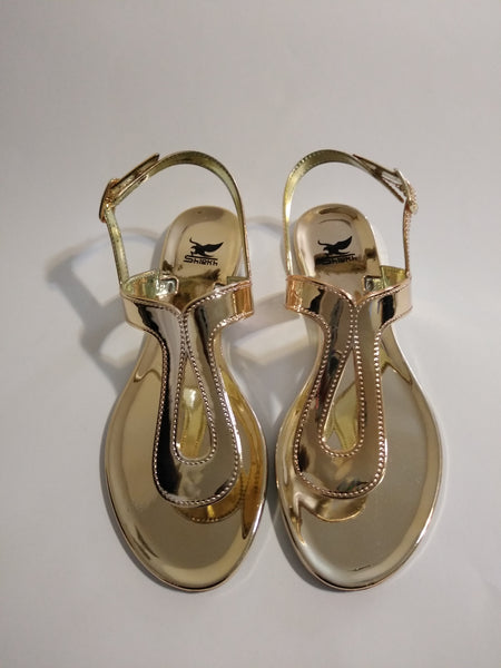 Womens's Metallic Gold Sandals 7