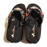 Montana West Embroidered Clear Rhinestone Concho Wedge Flip Flop Sandals