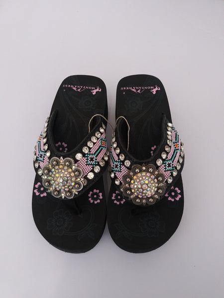 Montana West Pink Hand Beaded Sandals 5 7 8 9 10