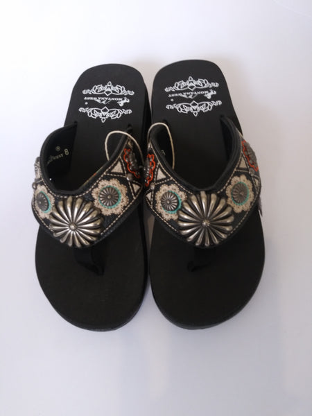 Montana West Embroidered Antique Silver Concho Sandals