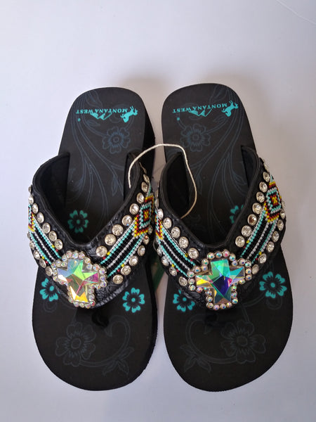 Montana West Aztec Hand Beaded Concho Cross Sandals 5 7 8 9 10 11