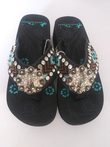 Montana West Aztec Sandals with Copper Brown And Black Beads 5 6 8 9 10 11