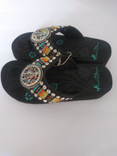 Load image into Gallery viewer, Montana West Aztec Hand Beaded Sandals with A Round Concho Oil Derrick