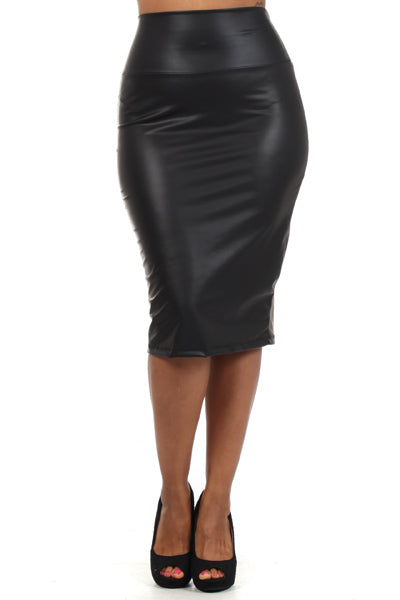 Womens Black Synthetic Leather Pencil Skirt L