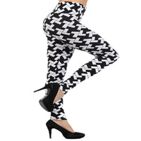 Womens High waisted Black And White Checkered Leggings S, M, L