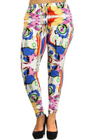 Womens Splash Of Paint Graphic Leggings 1X