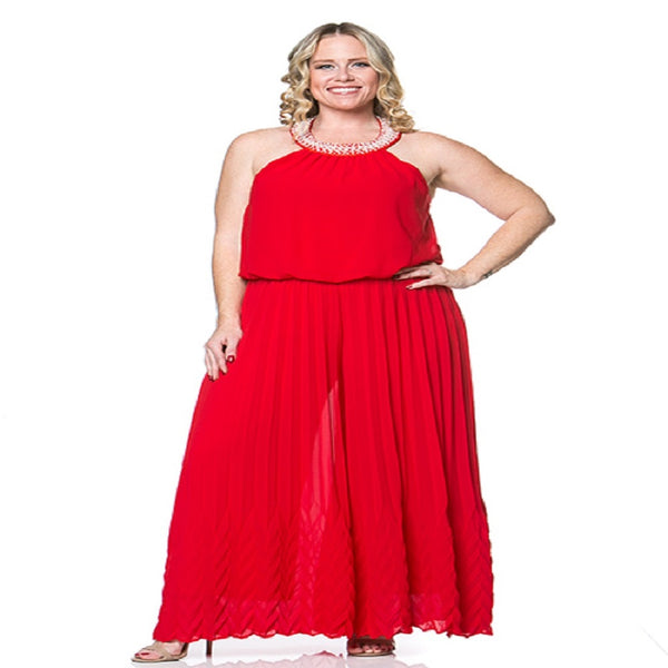 Womens Plus Size Flare Leg Bolero Red Jump Suit With Pearls On the Neckline XL, 2X, 3X