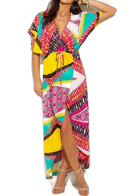 Womens Ethnic Print Boho Maxi Dress S, M, L