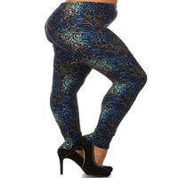 Womens Paisley Print Leggings XL,1X,2X