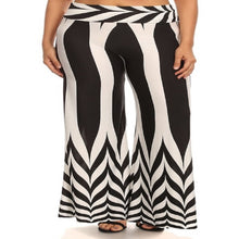 Load image into Gallery viewer, Womens Black And White Palazzo Bolero Flare Wide Leg Pants