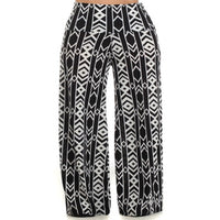 Womens Black And White Tully Designed Palazzo Bolero Flare Wide Leg Pants