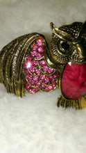 Load image into Gallery viewer, Womens Dark Pink  Owl Cuff Bracelet with Pink Rhinestones