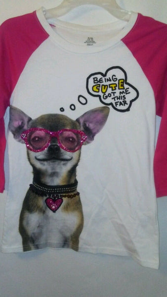 Girls Graphic Designed T-Shirt with a Dog on it 14-16 XL