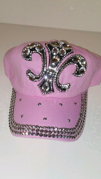 Womens Fluer-De-Lis Pink Jeweled Baseball Cap Hat