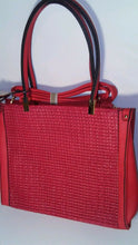 Load image into Gallery viewer, Diophy 2176 Cherry Red Shoulder Handbag Purse with Basket Weave Detail