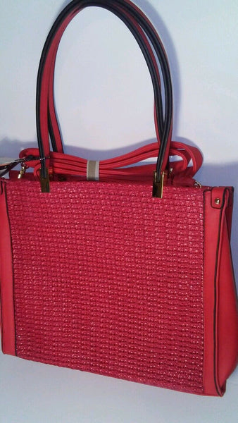 Diophy 2176 Cherry Red Shoulder Handbag Purse with Basket Weave Detail