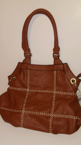 Womens Brown Purse with White stitch detail