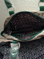 Womens G Green Faux Leather And Tweeded Cute Shoulder Purse