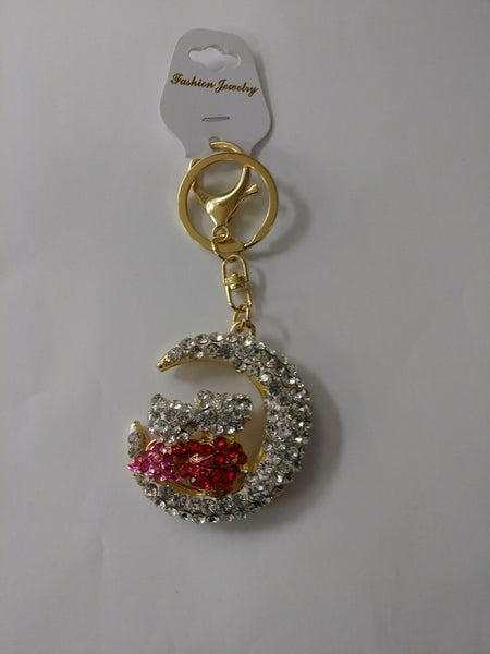 Love Birds Over The Moon Rhinestone Keychain Keyring