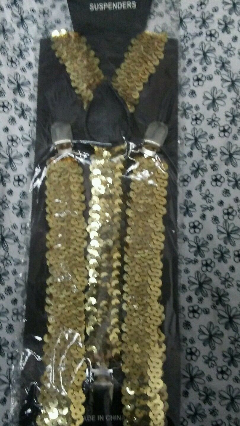 New Women Mens Clip On Y-Shaped Sequin Suspenders