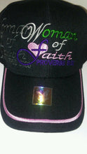 Load image into Gallery viewer, Womens Women of Faith  Proverbs 31:30 Black Baseball Cap