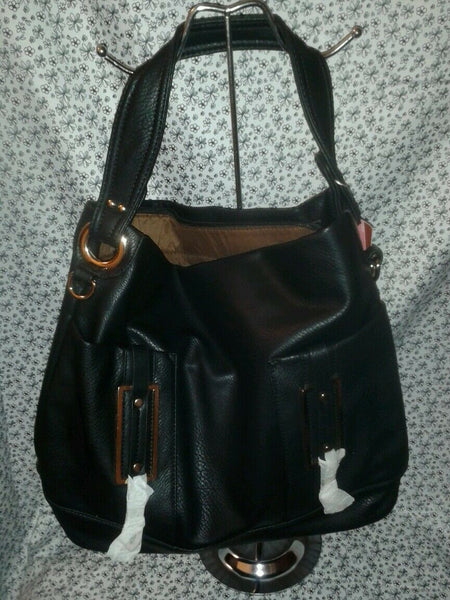 Black Casual Handbag Purse with Gold Hardware