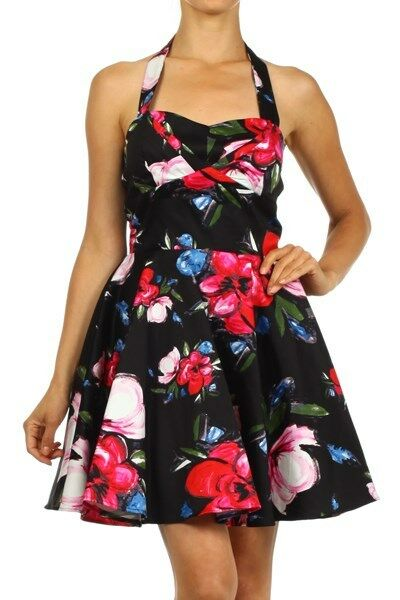 Womens 50's Era Inspired  Black Floral Flared Hem A-Line Halter Mini Dress