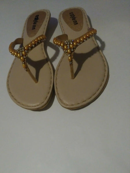 Womens Gold Pakistan Flat Rhinestone Sandals with Gold Pearl like stones