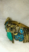 Load image into Gallery viewer, Womens Blue and Turquoise Owl Cuff Bracelet