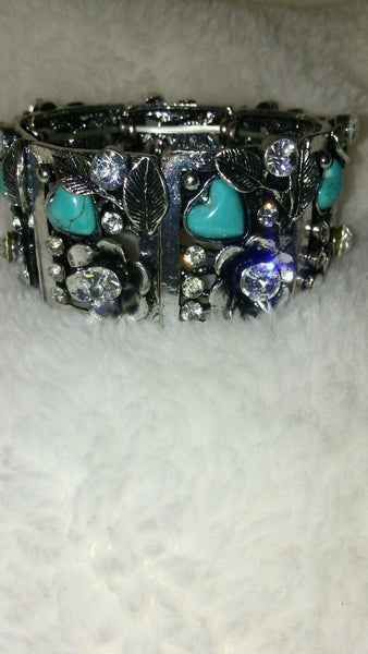 Womens Silver Turquoise Valentine Bracelet