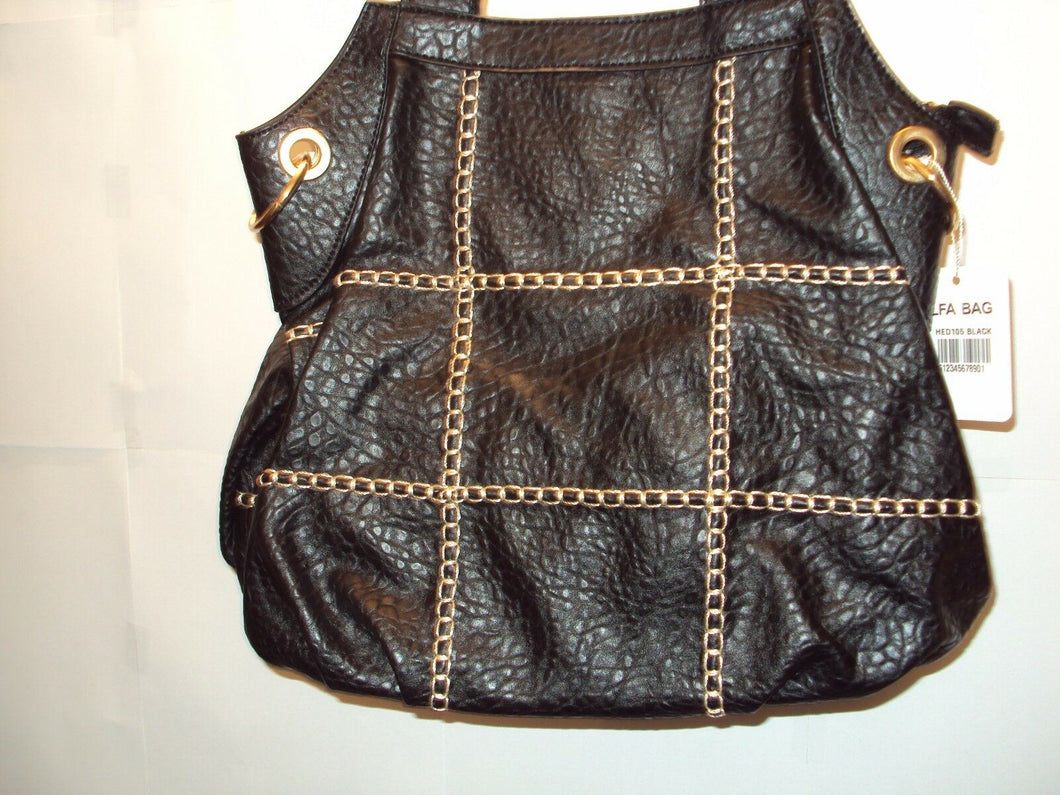 Womens Black Purse with White stitch detail
