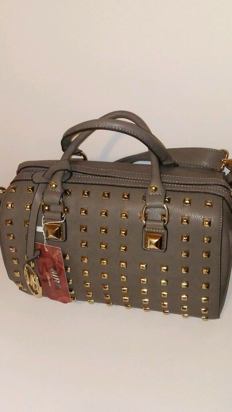 Womens Gray Barrel Bag with Gold Studds