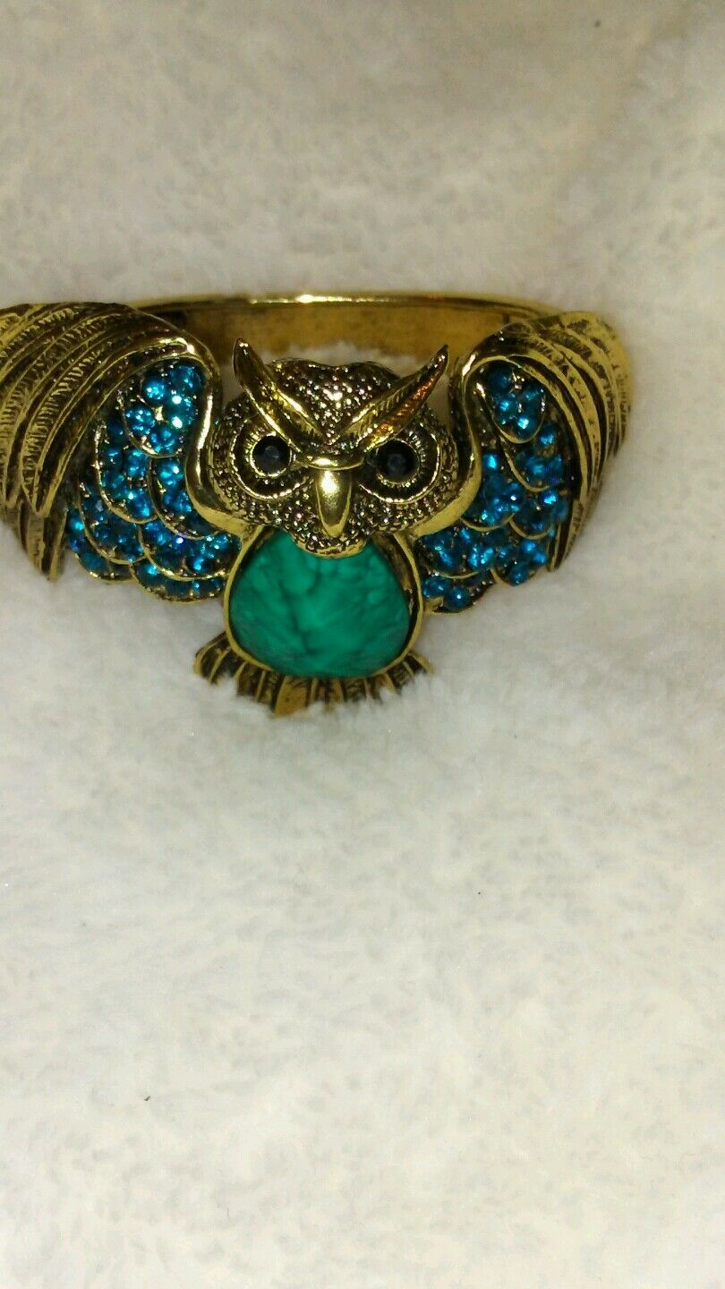 Womens Blue and Turquoise Owl Cuff Bracelet