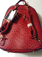 Womens Wine Colored Ostrich Leather Inspired Book bag Purse