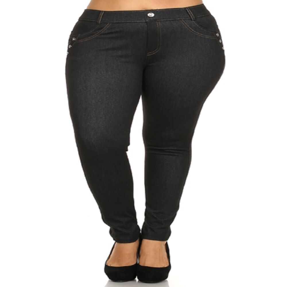 Womens Navy Blue Jean Jeggings with 3 Jewels on the Pockets