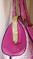 Womens Pink Bowtie Jelley Shoulder Purse