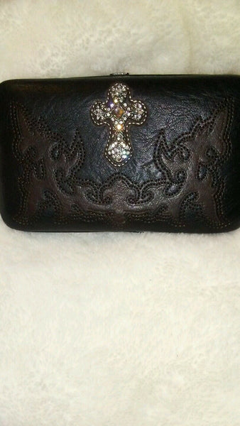 Womens Montana West Wristlet Cow Girl Black And Chocolate Brown Wallet