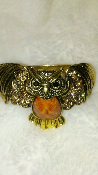 Womens Brown Owl Cuff Bracelet with a