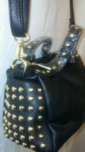 Load image into Gallery viewer, Womens Black Gold Studded Purse