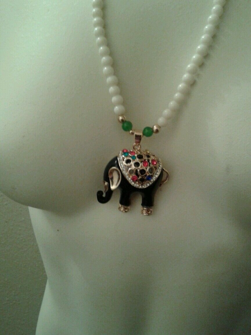 Womens Gorgeous Elephant Necklace Black And Gold