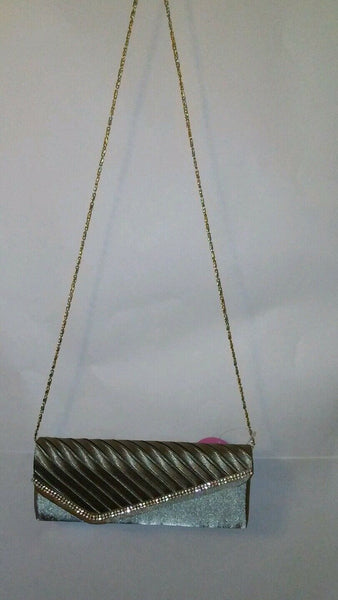 Womens Champaign Gray Clutch Evening  Prom Holiday Purse