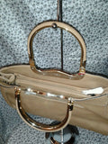 Womens Brown Evening  Purse with Metal Handels