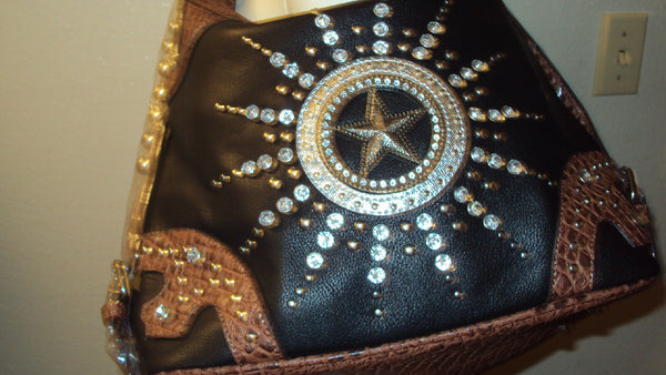 Womens Western Purse with Rhinestone And Aligaator Design Pink/ Black