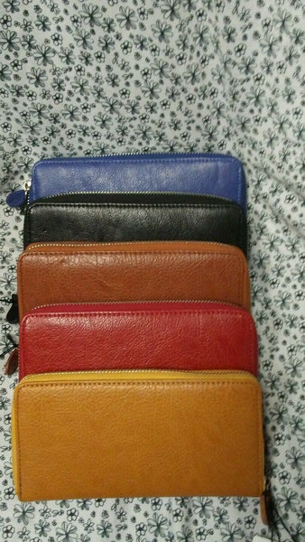 Womens Clutch Wallet Blue, Brown, Red, Tan, And Black