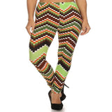 Womens Green Larene Chevron Block Print Winter And Fall Leggings