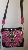 Montana West Cross Body Pink Western Purse with A Crystal Cros