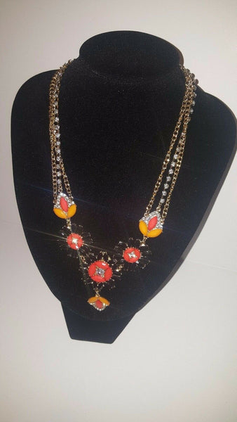 Fashion Spring Bloom Orange/ Black Statement Necklace Piece
