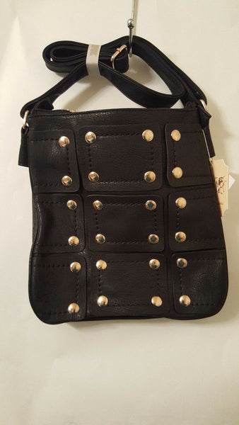 Womens Black Leather Crossbody Purse